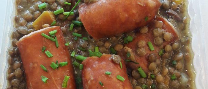 Lentilles vertes et saucisse de Montbélliard