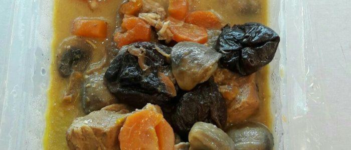 Sauté de porc aux pruneaux, gratin de pommes de terre